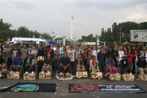 Perusakan Posko, Massa JMPPK Demo Polda Rembang